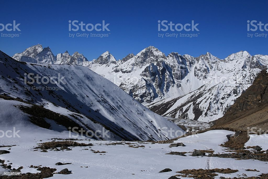 Landscape on the way from Cho La pass to Gokyo stock photo