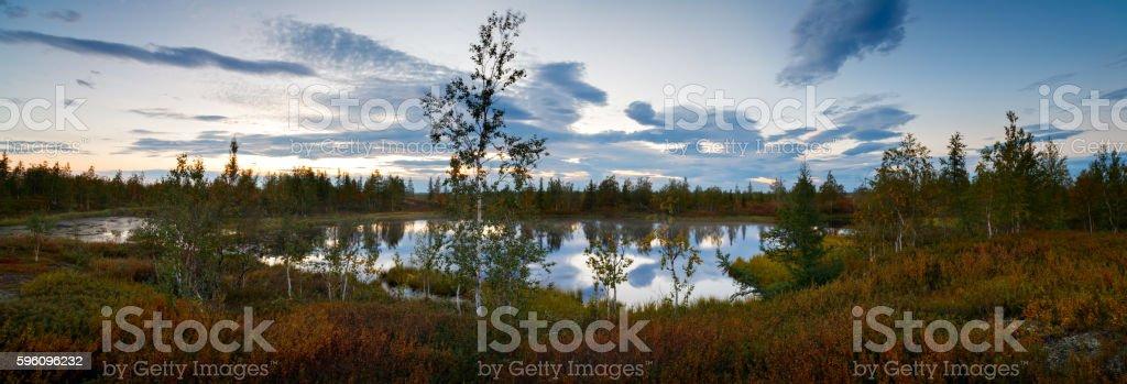 landscape on wood lake after sunset, panorama royalty-free stock photo