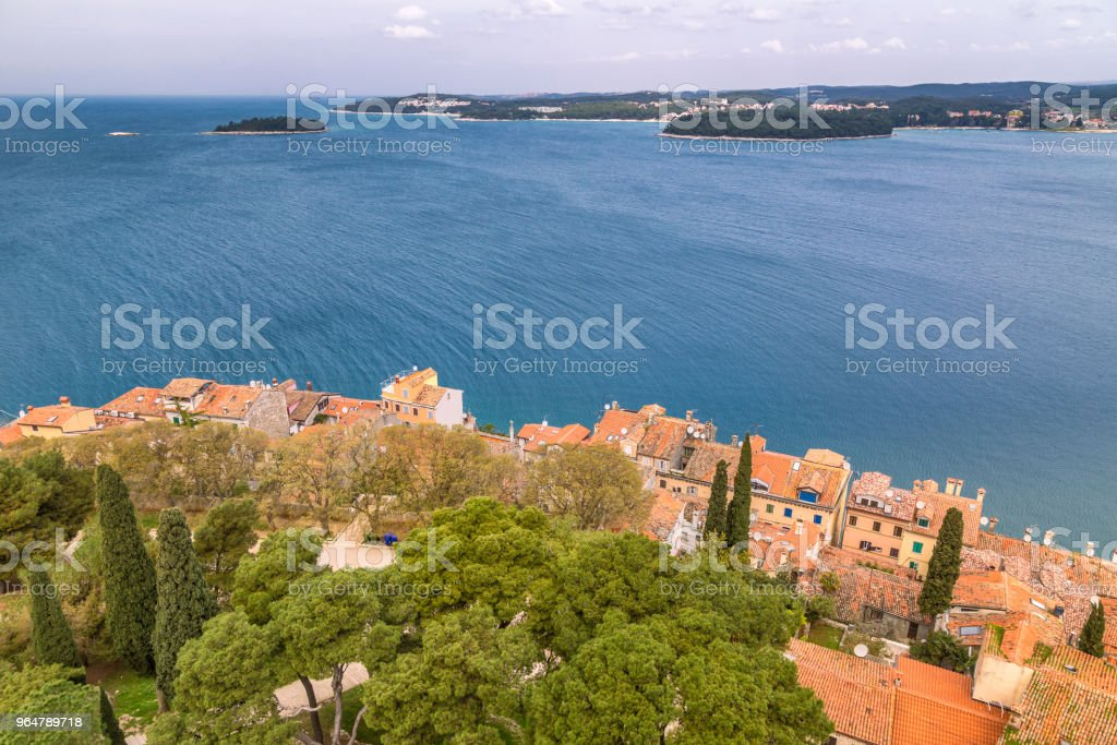 Landscape overlooking the sea and coastal houses. royalty-free stock photo