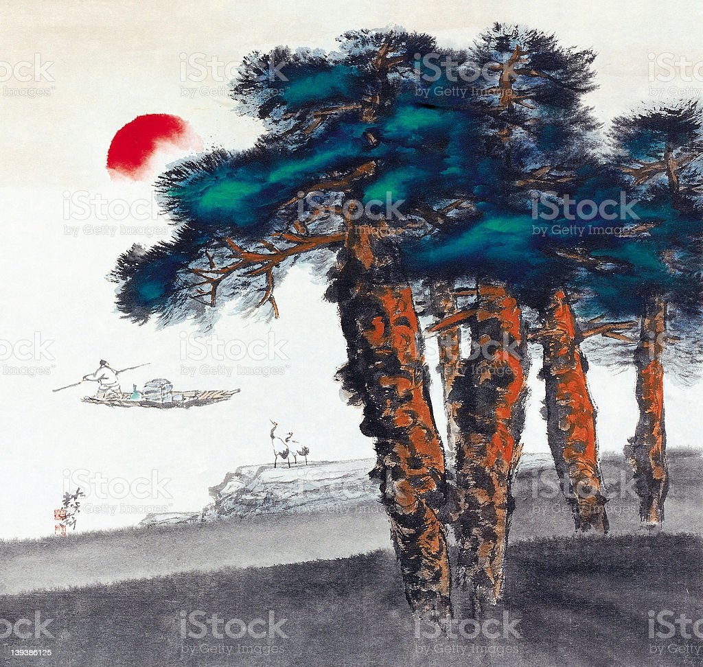 Landscape Painting stock photo