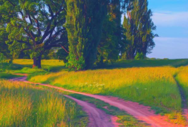 landschaft malerei zeigt straßen durch die landschaft im sommer - bilder landschaften stock-fotos und bilder
