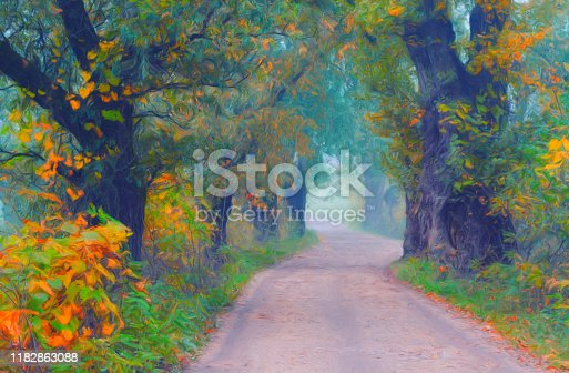 istock Landscape painting showing road through forest 1182863088