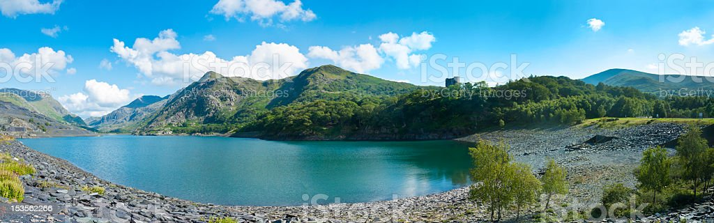 A landscape panorama of Llyn Padran in Llanberis stock photo