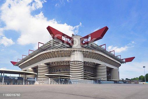 Italy - 22 June 2018: Landscape panorama of San Siro Stadium in Milan Italy