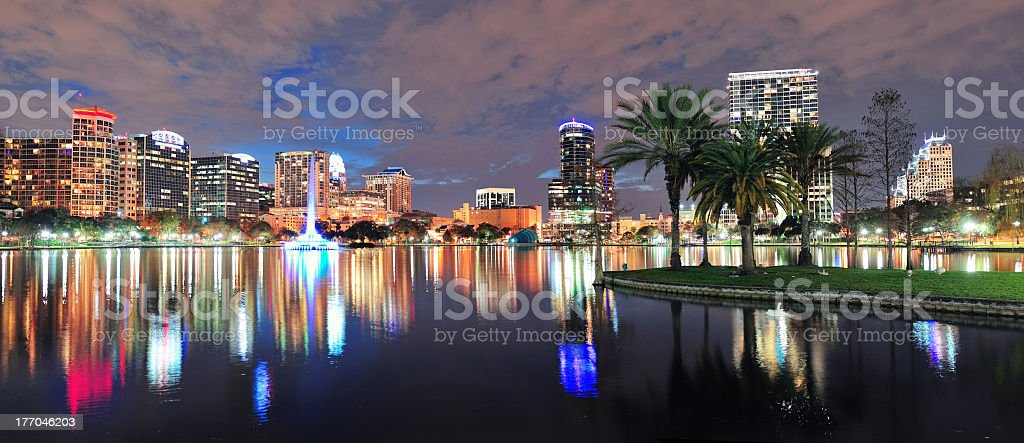 A landscape panorama of the city of Orlando at night stock photo