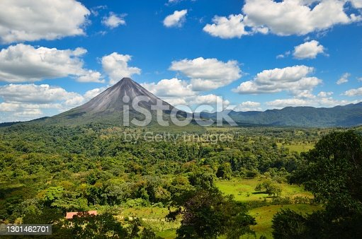 istock Landscape Panorama picture from Volcano Arenal next to the rainforest, Costa Rica Nationalpark 1301462701