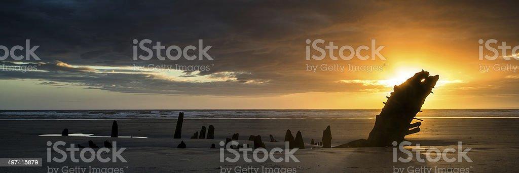 Landscape panorama ship wreck on Rhosilli Bay beach stock photo