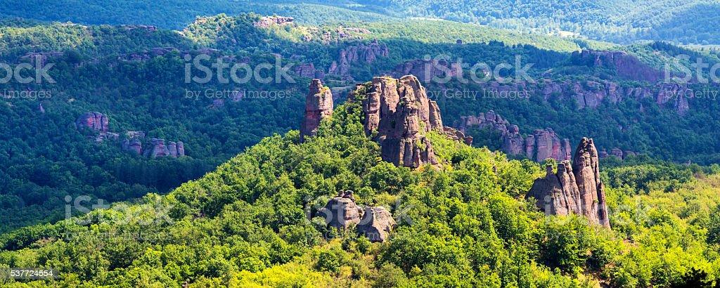 Landscape panorama with high cliff rocks, Belogradchik, Bulgaria stock photo
