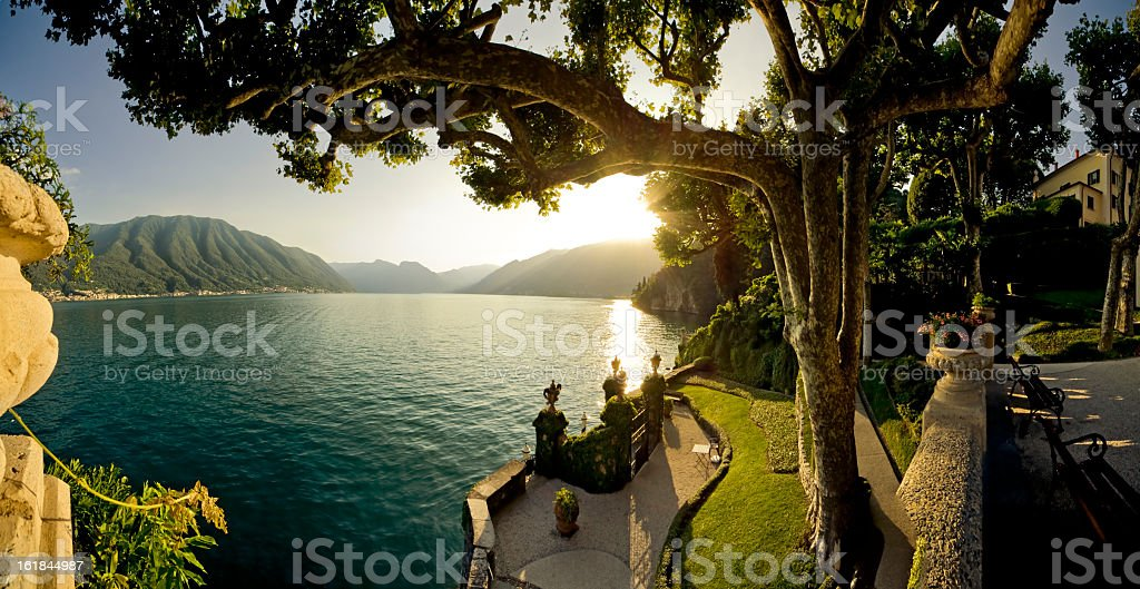 Landscape: Panoramic View Of Como Lake From Varenna Italy stock photo