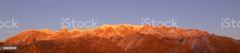 landscape panoramic winter mountain sunset royalty-free stock photo