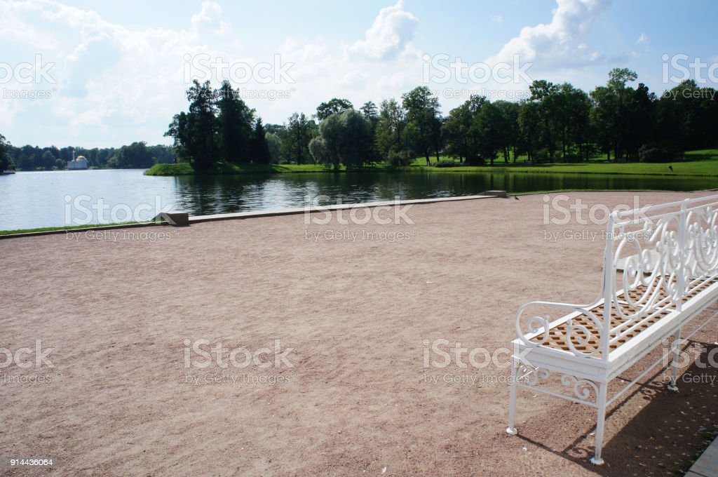 Landscape park at Pushkin, Tsarskoe Selo Saint-Petersburg, Russia view to lake stock photo