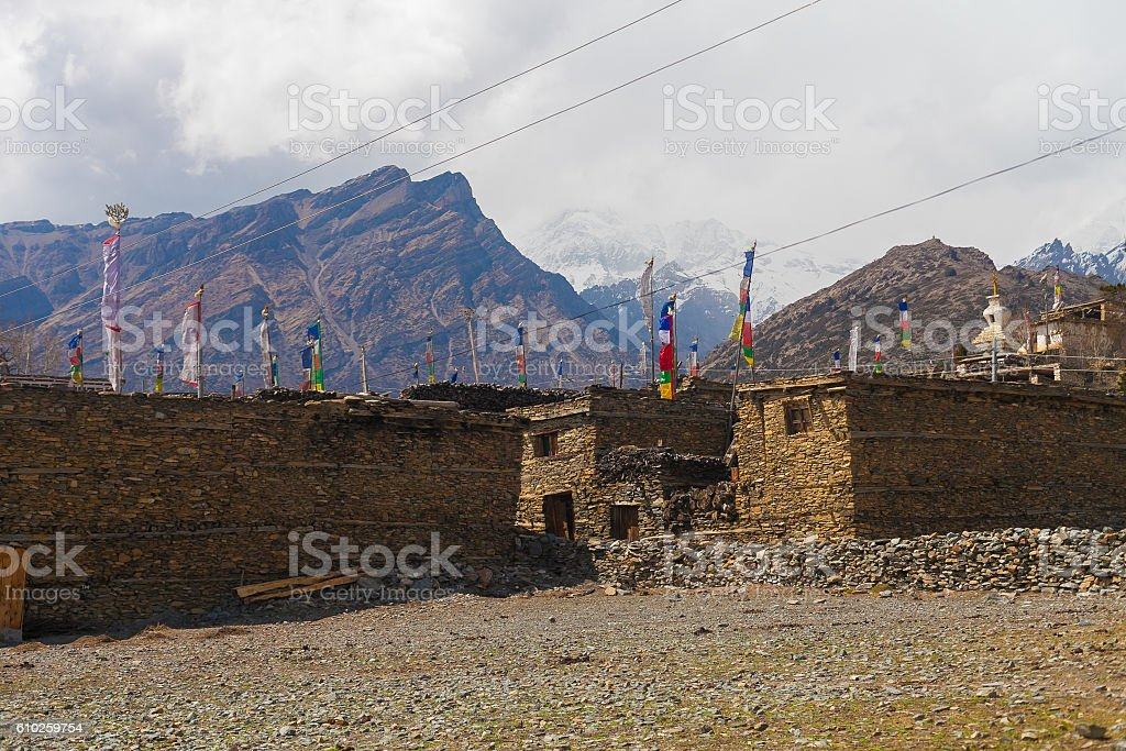 Landscape Photo Himalays Mountains Spring Authentic Village.Asia Nature Morning стоковое фото