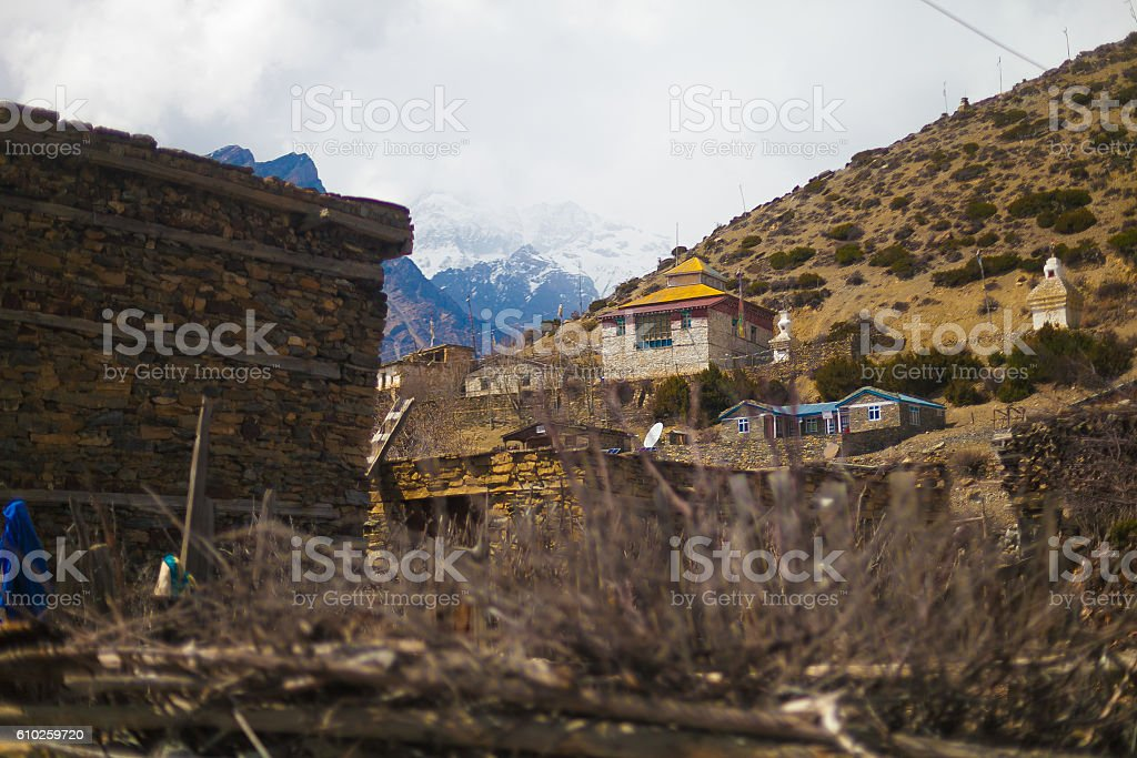 Landscape Photo Himalays Mountains Spring Village.Asia Nature Morning Viewpoint стоковое фото