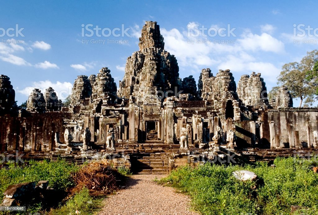 Landscape photo of Bayon Temple in Cambodia on a sunny day stock photo