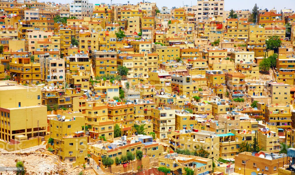 Landscape photo of bunched up houses in Amman, Jordan royalty-free stock photo