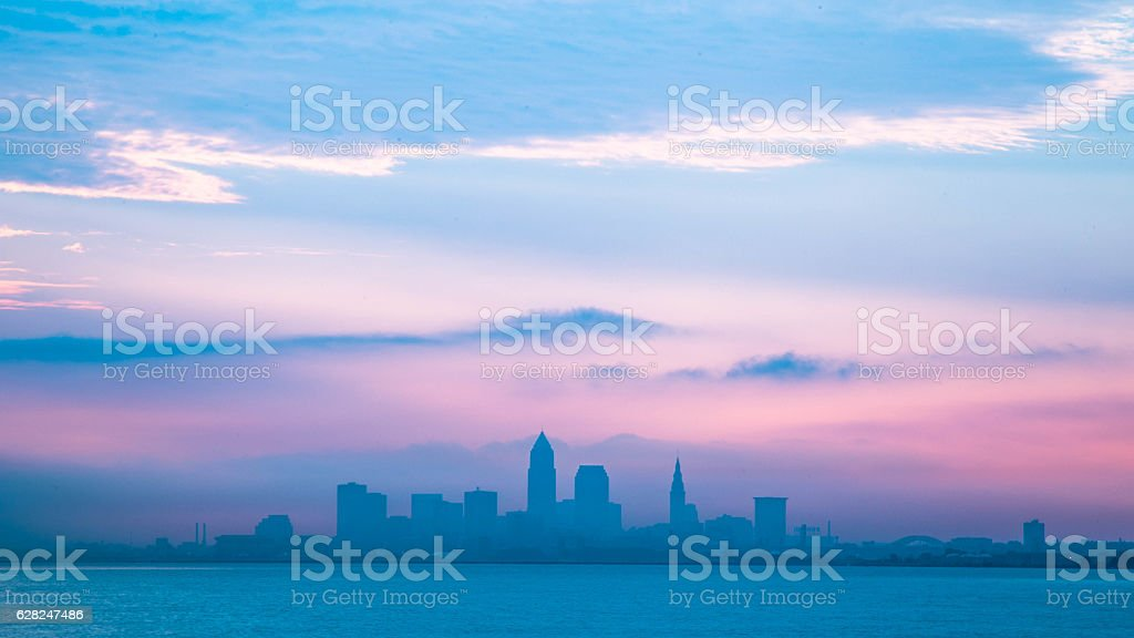 Landscape photo of downtown Cleveland Ohio on cloudy day. stock photo