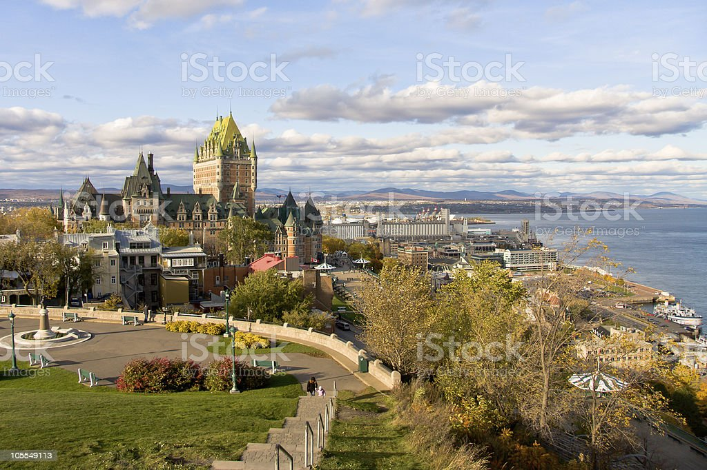 Landscape photo of Quebec City on a cloudy day stock photo