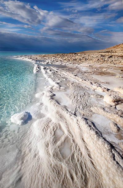 Landscape photo of the coastline and skyline of Dead Sea stock photo