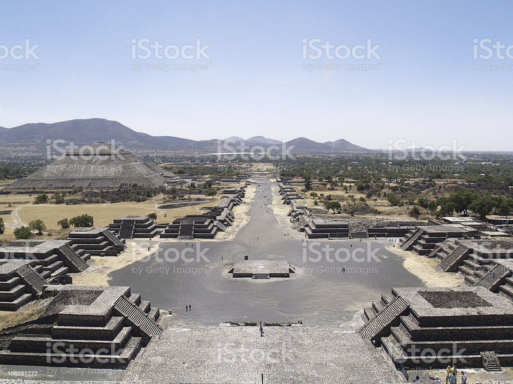 Landscape photo of the Pyramid of Sun on a clear day stock photo