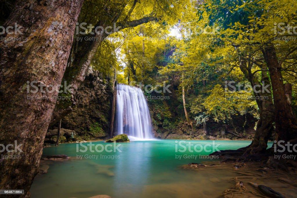 Landscape photo. Waterfall beautiful in southeast asia. Erawan waterfall kanchanaburi Thailand royalty-free stock photo