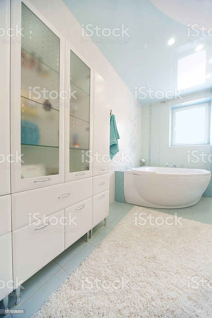 Landscape photograph of a modern designed bathroom stock photo