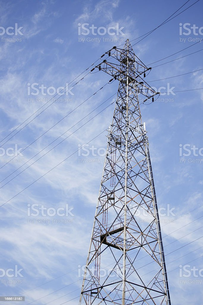 Landscape photograph of an electricity power tower royalty-free stock photo