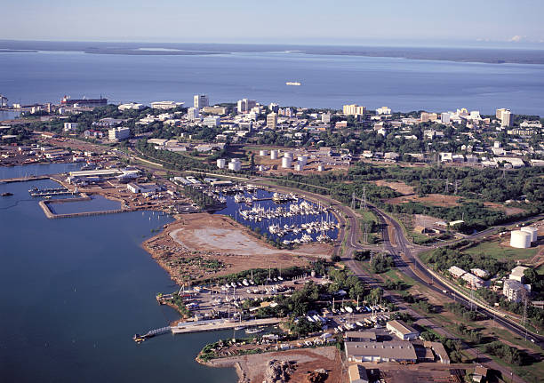 a landscape photograph of the city of darwin - darwin stock photos and pictures