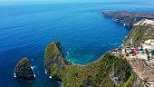 Beautiful view of Kelingking Beach, West Coast of Nusa Penida Island, Bali.