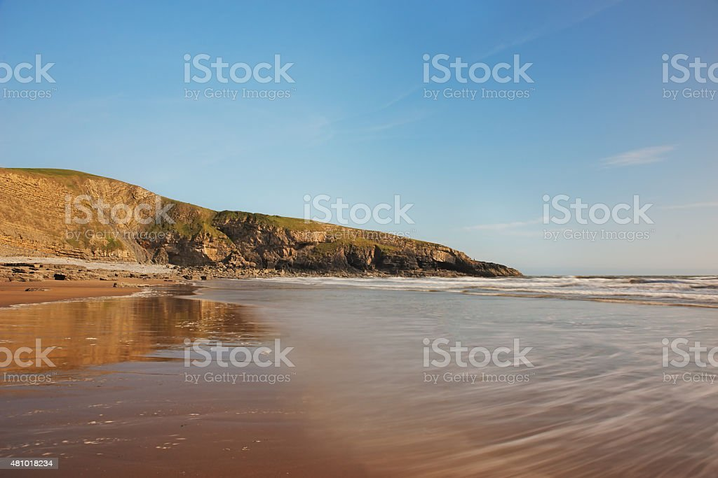 Landscape picture of a beach in Wales stock photo