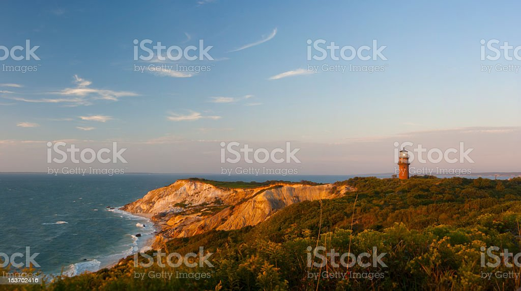 Landscape picture of a lighthouse with blue sky stock photo