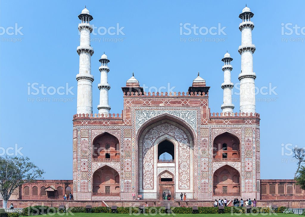 Landscape picture of Akbar's Tomb and its four minarets. - Royalty-free Agra Stock Photo