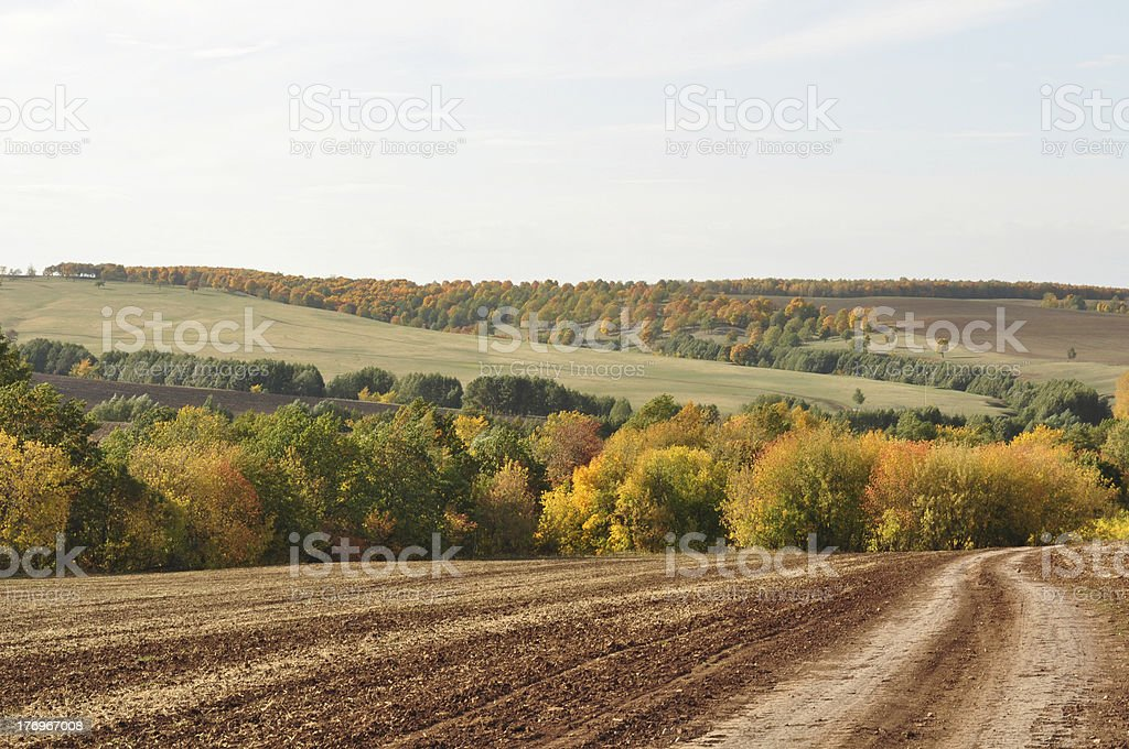 Landscape picture, road wallpaper, autumn royalty-free stock photo