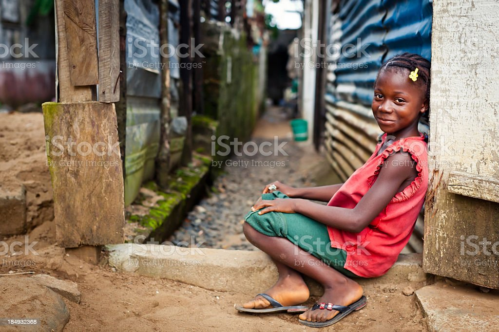 Landscape portrait of a smiling African girl stock photo