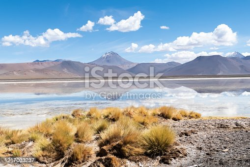 Landscape reflection in The Salar de Aguas Calientes Lagoon, San Pedro de Atacama, Chile