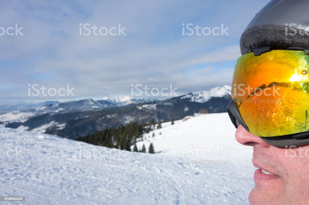 Landscape reflection on Ski Glasses royalty-free stock photo