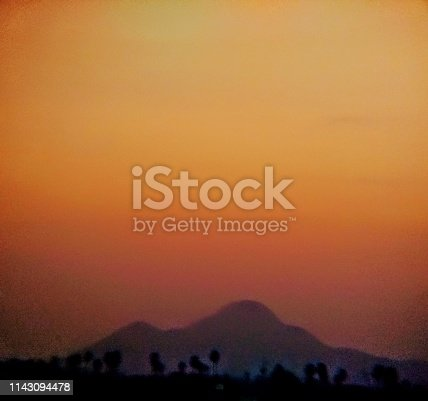 Mountain and orange background