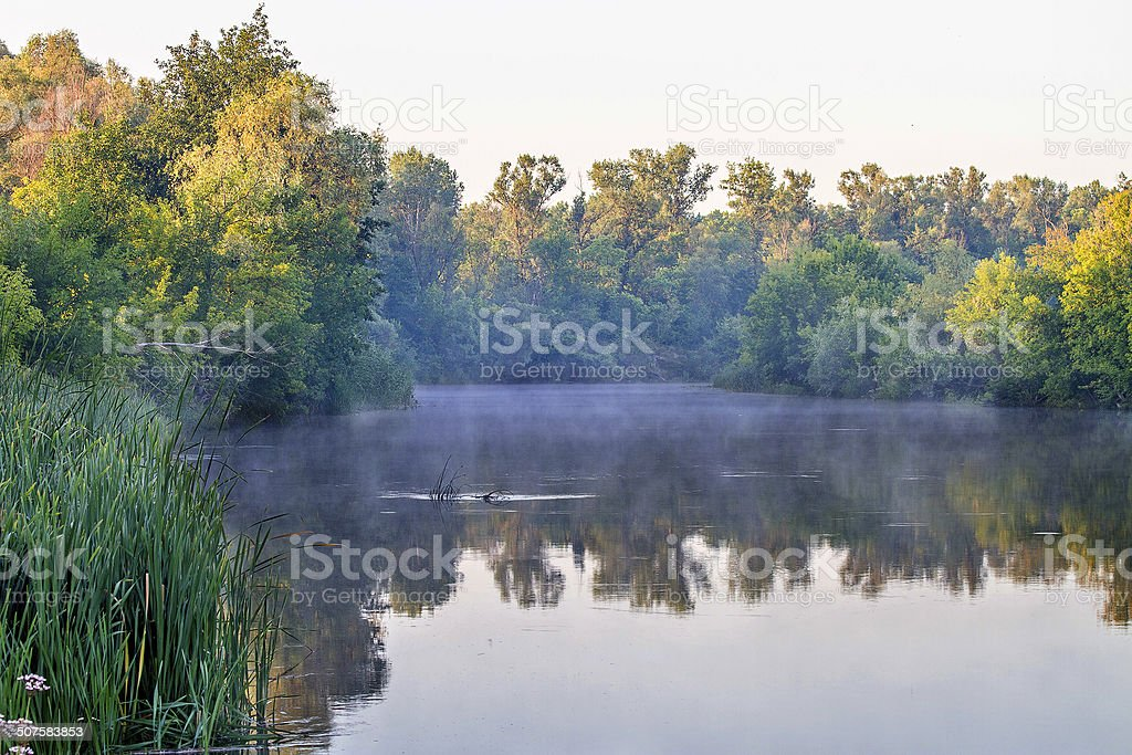 landscape river water surface with reflection shores stock photo
