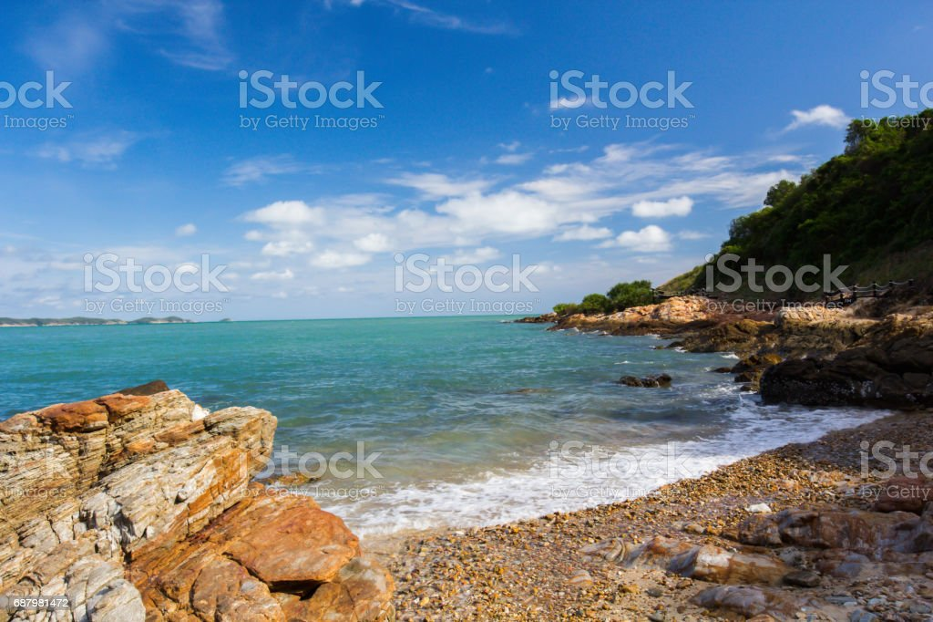 Landscape sand and rock beach stock photo