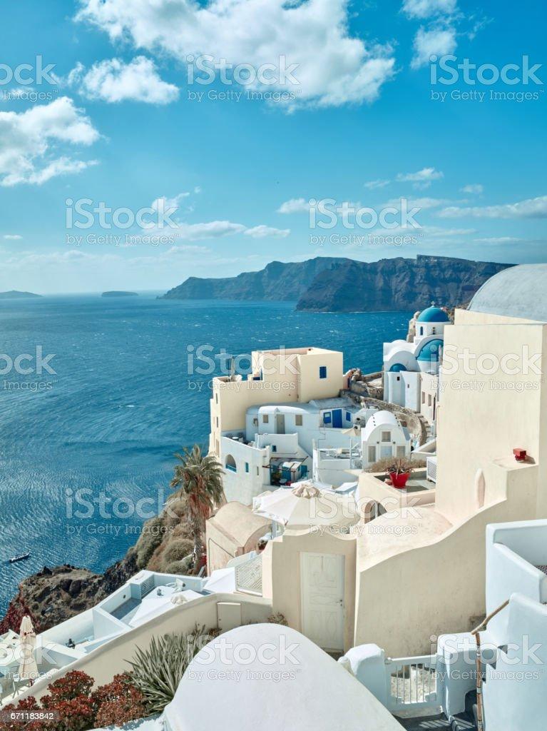 Paisagem de ilha de Santorini, Fira, Grécia - foto de acervo