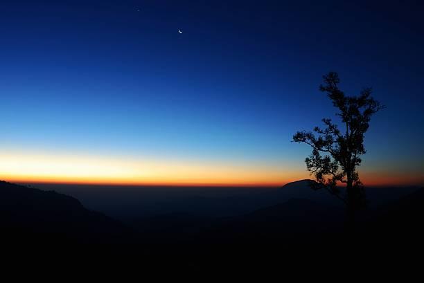Landscape scene in sunrise stock photo
