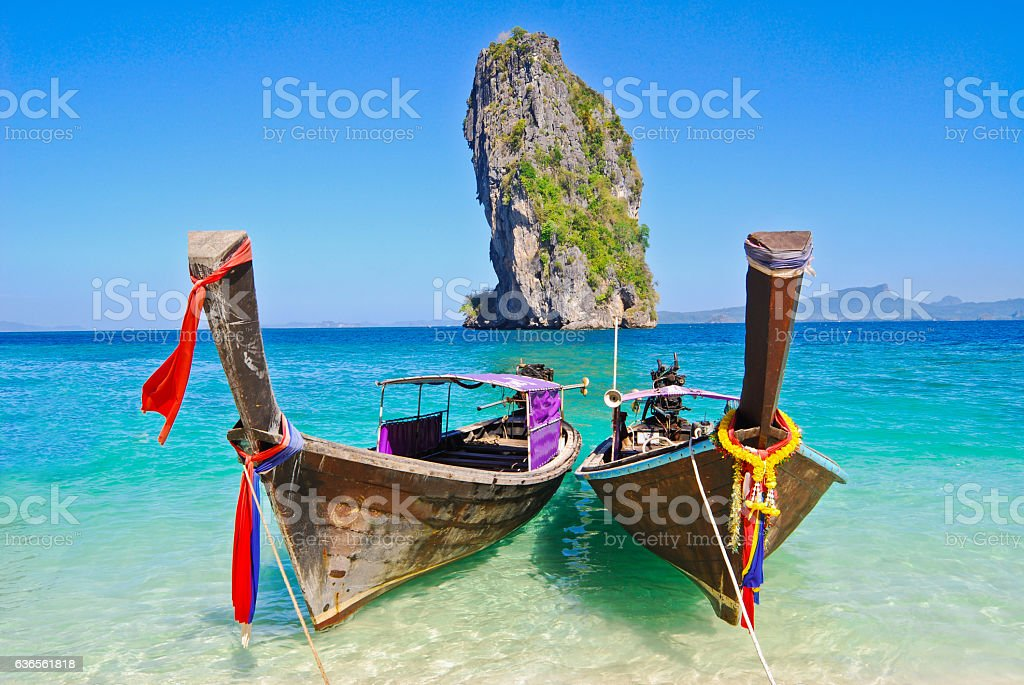 Landscape, scenery, boats fishing area Poda Island, Andaman Krabi stock photo