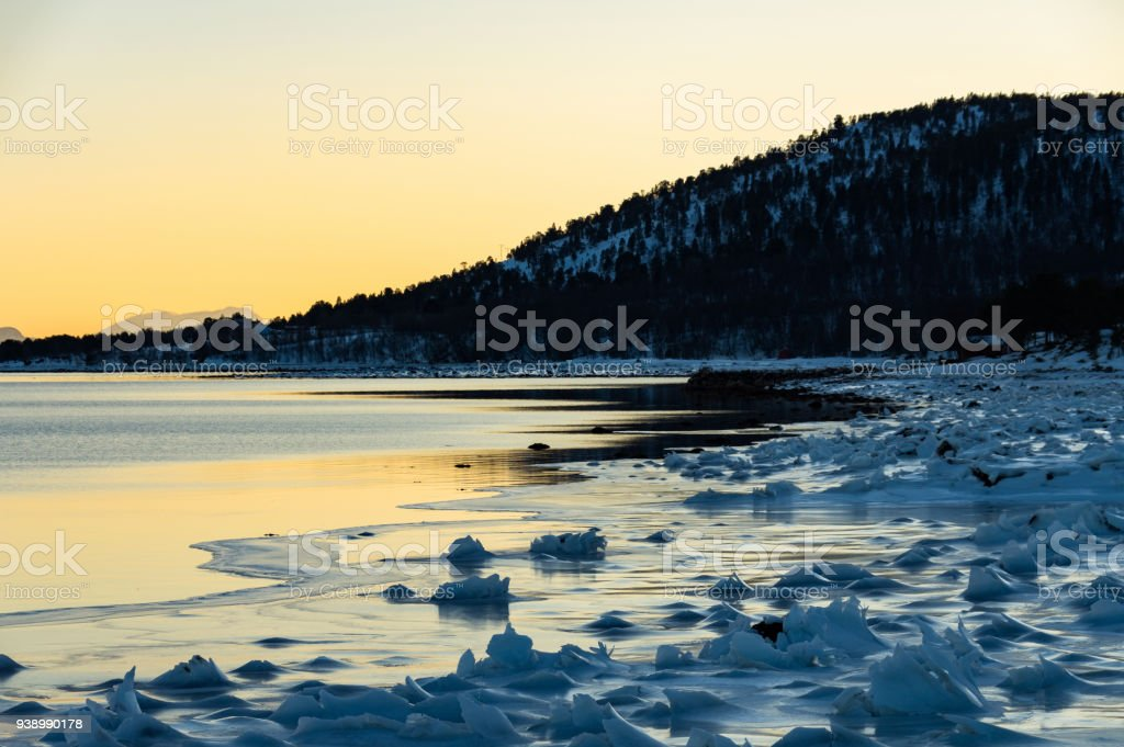 Manzara manzara Senja, Norveç stok fotoğrafı