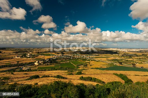 Landscape Seen From The Old Town Mdina Malta Stock Photo & More Pictures of Agricultural Field