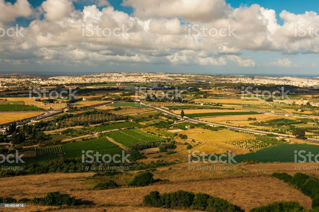 Landscape seen from the old town Mdina, Malta royalty-free stock photo