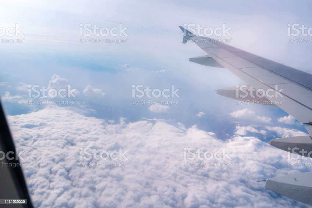 A landscape shot high above the airplane cloud.