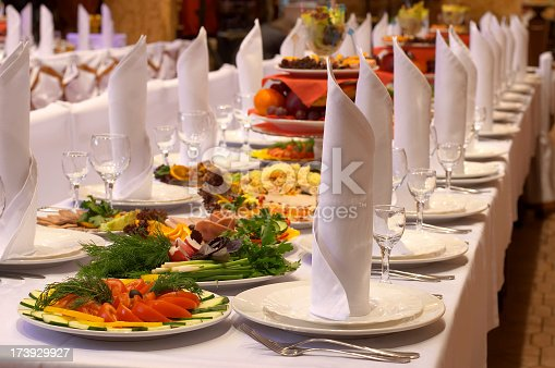 istock Landscape shot of a banquet prepared by a caterer 173929927
