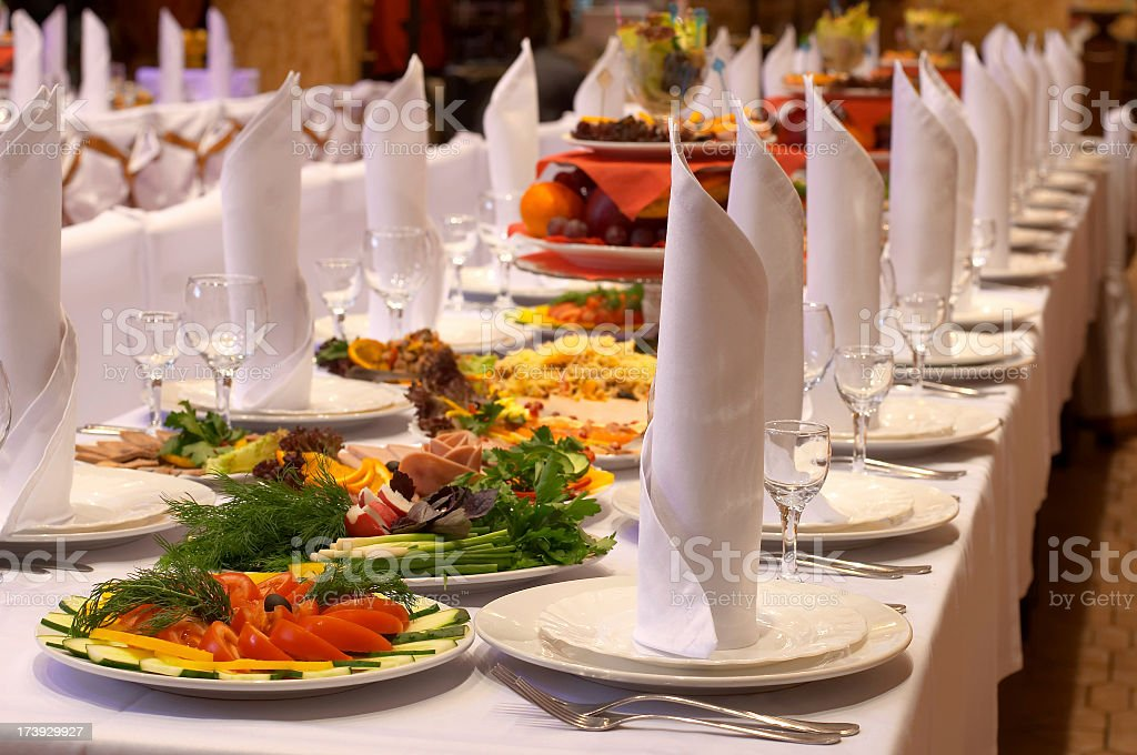 Landscape shot of a banquet prepared by a caterer stock photo
