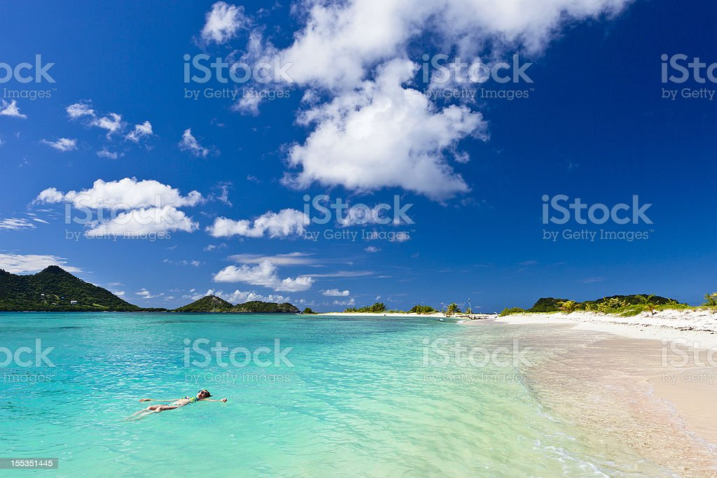 Landscape shot of clear blue water at Sandy Island, Grenada stock photo