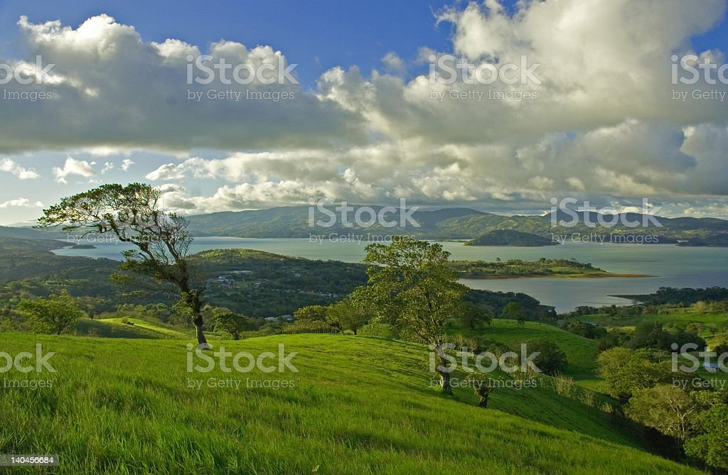 Landscape shot of Lake Arenal in Costa Rica on overcast day royalty-free stock photo