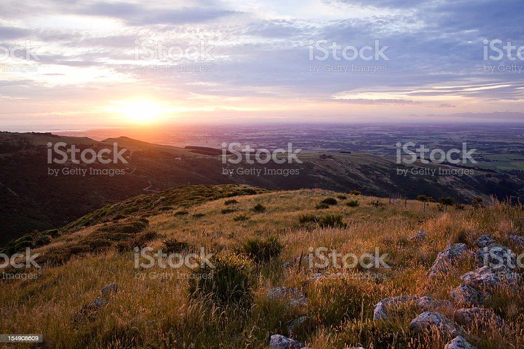 Landscape shot of Port Hills and Canterbury Plains stock photo